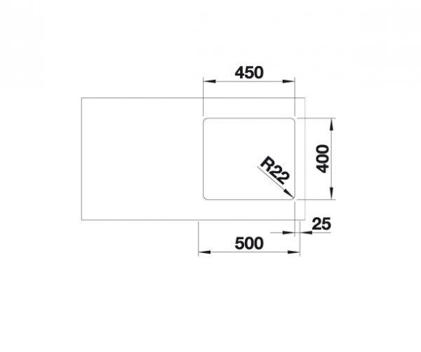 Blanco Andano 450-U 522964 Spoelbak Rvs Inclusief Draaiknopbediening Onderbouw