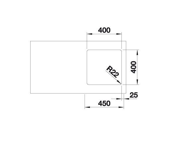 Blanco Andano 400-U 522960 Spoelbak Rvs Inclusief Draaiknopbediening Onderbouw