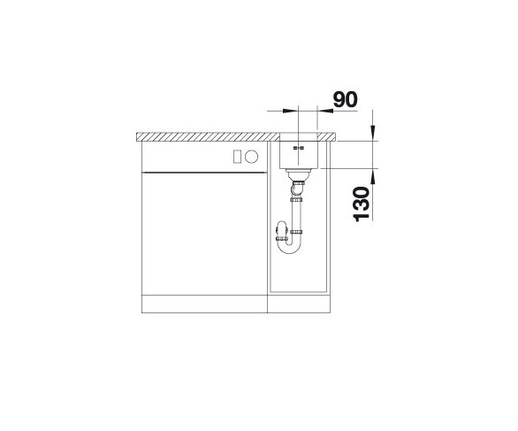 Blanco Supra 180-U 518197 Spoelbak Rvs Inclusief Draaiknopbediening Onderbouw