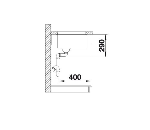 Blanco Andano 340-U 522956 Spoelbak Rvs Inclusief Draaiknopbediening Onderbouw
