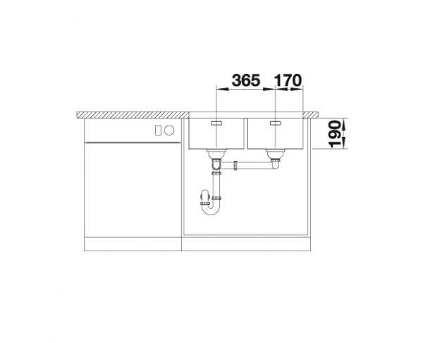 Blanco Andano 340/340-U 522984 Dubbele Spoelbak Rvs Inclusief Draaiknopbediening Onderbouw