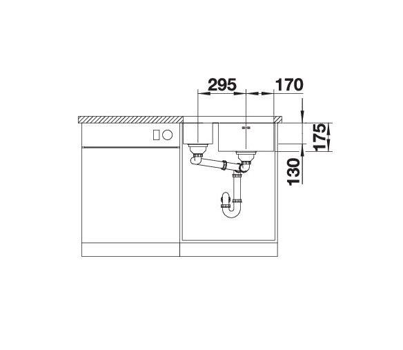 Blanco Supra 340/180-U 525217 Anderhalve Spoelbak Links Rvs Inclusief Draaiknopbediening Onderbouw