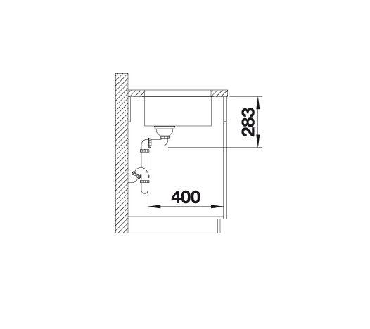 Blanco Supra 450-U 518204 Spoelbak Rvs Inclusief Draaiknopbediening Onderbouw