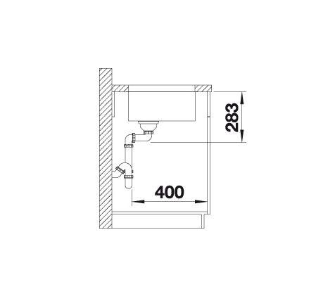 Blanco Supra 400-U 518202 Spoelbak Rvs Inclusief Draaiknopbediening Onderbouw